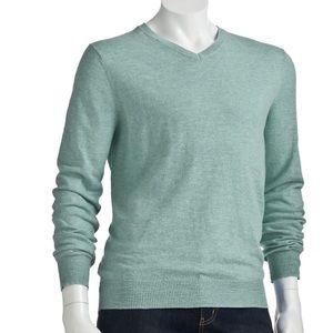 Marc Anthony V-Neck Sweater light green heather XL